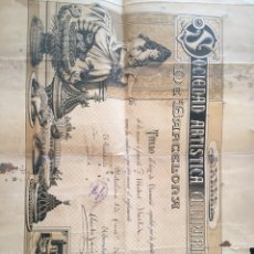 Documentos antiguos: CERTIFICADO S.ARTISTICA CULINARIA 1905. Lote 100616323