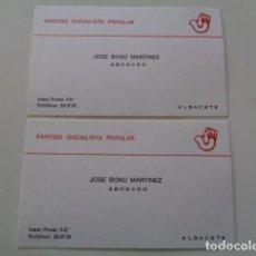 Documentos antiguos: ALBACETE. JOSÉ BONO MARTÍNEZ. LOTE 2 TARJETAS PROFESIONALES DE ABOGADO. PARTIDO SOCIALISTA POPULAR . Lote 101072703