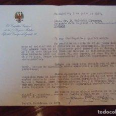 Documentos antiguos: EL CAPITÁN GENERAL DE AL 7ª REGIÓN MILITAR.JEFE DEL CUERPO DE EJERCITO VII,VALLADOLID 1957.. Lote 101128235