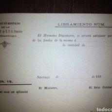 Documentos antiguos: COMISIÓN DE MORTAJAS V O T DE P DE N P S FRANCISCO SANTIAGO DE COMPOSTELA S XIX. Lote 101226355