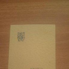 Documentos antiguos: TARJETA ALMUERZO EXCMO SR. SUBSECRETARIO DE ECONOMIA EXTERIOR EN EL REST DEL REAL MONT MONTSERRAT DI. Lote 101450271