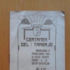 Documentos antiguos: FOLLETO CERTAMEN DEL TRABAJO, 1909. PROGRAMA DE BASES, BILBAO. Lote 101461443