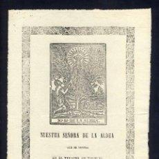Documentos antiguos: ESTAMPA IMATGE DE LA MARE DE DEU DE L' ALDEA QUE ES VENERA AL TERME DE TORTOSA. Lote 101651503
