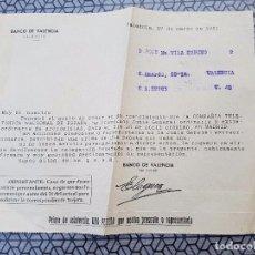 Documentos antiguos: == PA16 - DOCUMENTO BANCO DE VALENCIA 1961. Lote 101667143