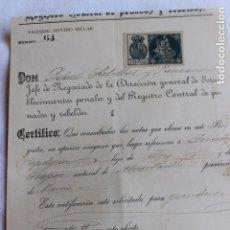 Documentos antiguos: CERTIFICADO DE PENALES 1901, CON SELLO FISCAL 2 PESETAS, ALCANTARILLA, MURCIA, Nº 64. Lote 101701783