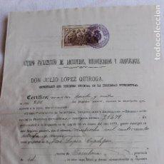 Documentos antiguos: ARCHIVEROS, BIBLIOTECARIOS Y ARQUEOLOGOS, CERTIFICADO PROPIEDAD INTELECTUAL DE LIBRO 1906, BARCELONA. Lote 101702551