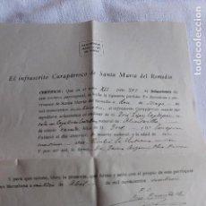Documentos antiguos: CURA PARROCO DE SANTA MARIA DEL REMEDIO, BARCELONA, PARTIDA DEFUNCION, 1926. Lote 101852723