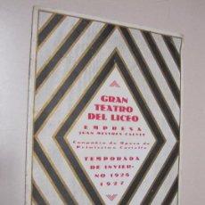 Documentos antiguos: FOLLETO PROGRAMA GRAN TEATRO DEL LICEO. INAUGURACIÓN TEMPORADA 1926. BORIS GODOUNOFF. Lote 101985211