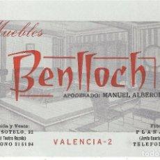 Documentos antiguos: ** AM103 - TARJETA DE VISITA - MUEBLES BENLLOCH - VALENCIA. Lote 102038371