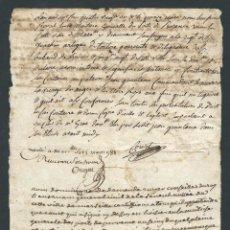 Documentos antiguos: DOCUMENTO CERTIFICADO DE CIRCULACION DEL AÑO 1781 FIRMADO POR JUAN DE LA ROSA COMISARIO DE GUERRA. Lote 102391027