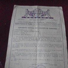 Documentos antiguos: FINISTERRE SEGUROS, SUPLEMENTO ESPECIAL DE DECESOS 1975. Lote 102637927