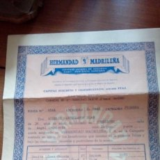 Documentos antiguos: POLIZA ANTIGUA DE SEGUROS HERMANDAD MADRILEÑA 1951. Lote 102707103