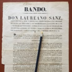 Documentos antiguos: BANDO- GRANADA 1.844 - D. LAUREANO SANZ- TENIENTE GENERAL. Lote 103061795
