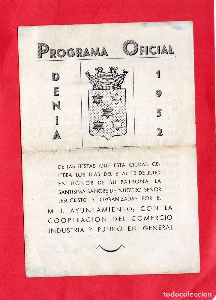 DENIA. PROGRAMA OFICIAL FIESTAS 1952 (Coleccionismo - Documentos - Otros documentos)