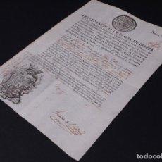 Documentos antiguos: BLASONES Y FIRMAS MILITARES, FRANCISCO DE BORJA. LICENCIA AL MARINERO P. GRAN PERA, CARTAGENA 1803. Lote 103308675