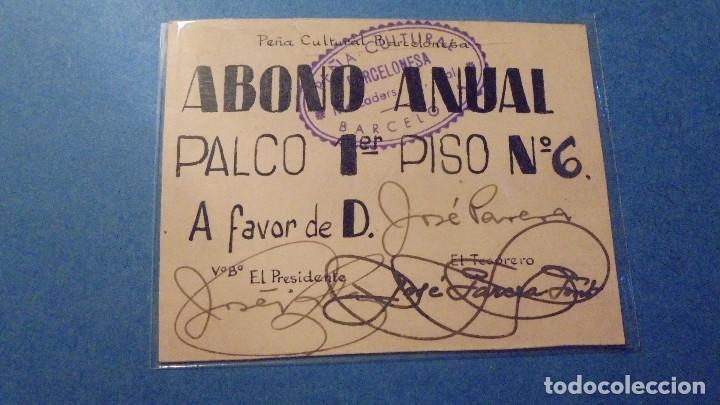 PEÑA CULTURAL BARCELONESA - ANTIGUO CARNET ABONO ANUAL PALCO 1ER. PISO Nº 6 TEMPORADA 1946-1947 (Coleccionismo - Documentos - Otros documentos)