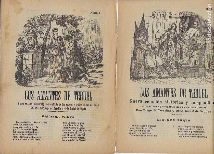 LOS AMANTES DE TERUEL. PRIMERA Y SEGUNDA PARTE. EL ABANICO. 22X16CM. 4+4 P. (Coleccionismo - Documentos - Otros documentos)