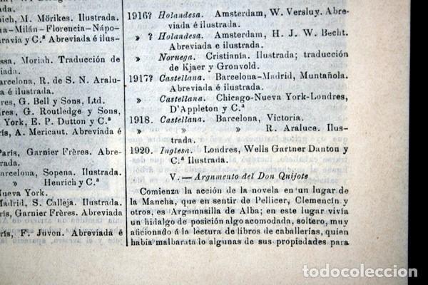 Documentos antiguos: QUIJOTE - CON LAMINAS COLOR - LISTADO EDICIONES - DOCUMENTACION CERVANTINA - 1922 - 97 páginas - Foto 16 - 103523339