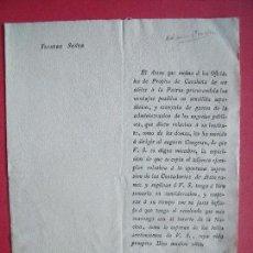Documentos antiguos: JOSE DE EZPELETA.-MILITAR.-CARTA.-OFICIALES DE PROPIOS DE CATALUÑA.-CONTADURIAS.-S. XIX-XX.. Lote 103539807