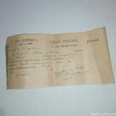 Documentos antiguos: CEDULA PERSONAL LOGROÑO 1919. Lote 103610276