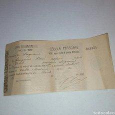 Documentos antiguos: CEDULA PERSONAL LOGROÑO 1919. Lote 103610611