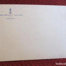 Documentos antiguos: TARJETON BUQUE ESCUELA GALATEA - COMANDANTE - ANVERSO EN BLANCO, REVERSO POESÍA MANUSCRITA Y SIGNADA. Lote 103623735
