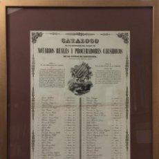 Documentos antiguos: CATÁLOGO DE LOS INDIVIDUOS DEL COLEGIO DE NOTARIOS REALES Y PROCURADORES CAUSÍDICOS, BCN. AÑO 1842. . Lote 103700779