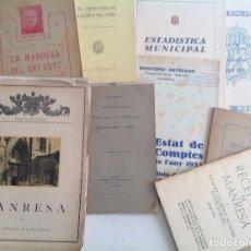Documentos antiguos: MANRESA * LOTE DE NUEVE ANTIGUOS IMPRESOS Y LIBRITOS , GUIA, HISTORIA, ETC * 1900-1950´S. Lote 103704231