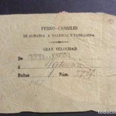 Documentos antiguos: DOS BILLETES DE TREN SIGLO XIX ALMANSA VALENCIA TARRAGONA Y MADRID ZARAGOZA ALICANTE (CIRCA 1880). Lote 103837451