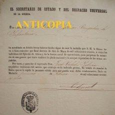 Documentos antiguos: CONCESIÓN MEDALLA ÁFRICA 1860. Lote 103938655