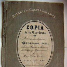 Documentos antiguos: ESCRITURA DE D.RAMON MARTINEZ VALLEJO Y DOMINGUEZ VALENCIA 1870. Lote 103964287