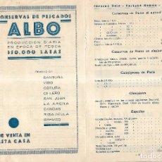 Documentos antiguos: LISTA DE PRECIOS. CONSERVAS DE PESCADOS. ALBO. VER FOTOS. Lote 104033551