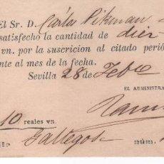 Documentos antiguos: RARÍSIMA SUSCRIPCIÓN AL DIARIO LA ANDALUCÍA EN 1869 . HECHA POR LA FAMILIA PICKMAN . Lote 104359355