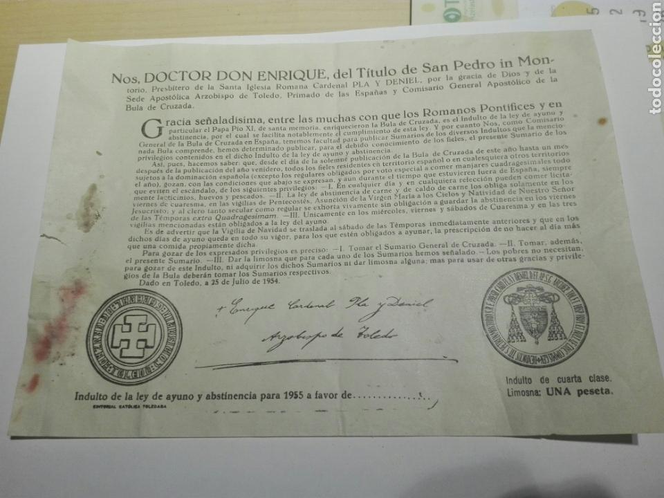 BULA INDULTO DE AYUNO Y ABSTINENCIA . ARZOBISPO TOLEDO 1955 (Coleccionismo - Documentos - Otros documentos)