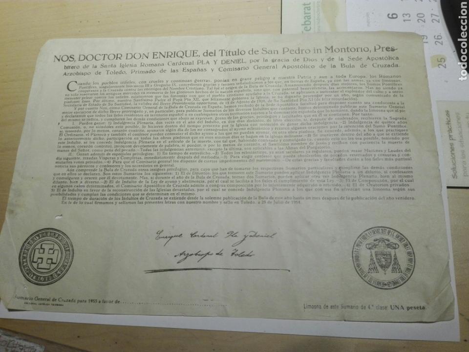 DOCUMENTO BULA .INDULTO . ARZOBISPO TOLEDO 1955 (Coleccionismo - Documentos - Otros documentos)