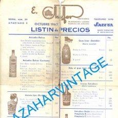 Documentos antiguos: JATIVA, 1967, TARIFA DE PRECIOS DESTILERIA E.CHAFER, A DOS CARAS, 22X32 CMS. Lote 104539371