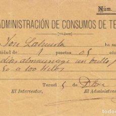 Documentos antiguos: RECIBO POR ALMACENAJE DE UN BULTO DE JABÓN EN LA ADMINISTRACIÓN DE CONSUMOS DE TERUEL. 1891.. Lote 104617539