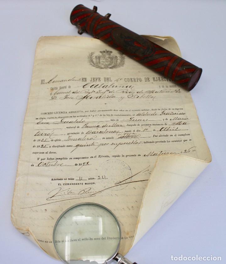 Documentos antiguos: BOTE ORIGINAL CON DOCUMENTO, DE LICENCIA ABSOLUTA FECHADO EN 1898. 23 cm bote - Foto 2 - 104792603