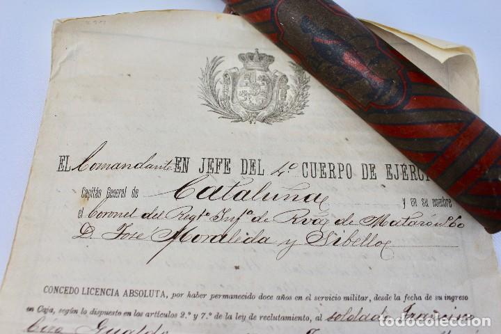 Documentos antiguos: BOTE ORIGINAL CON DOCUMENTO, DE LICENCIA ABSOLUTA FECHADO EN 1898. 23 cm bote - Foto 5 - 104792603
