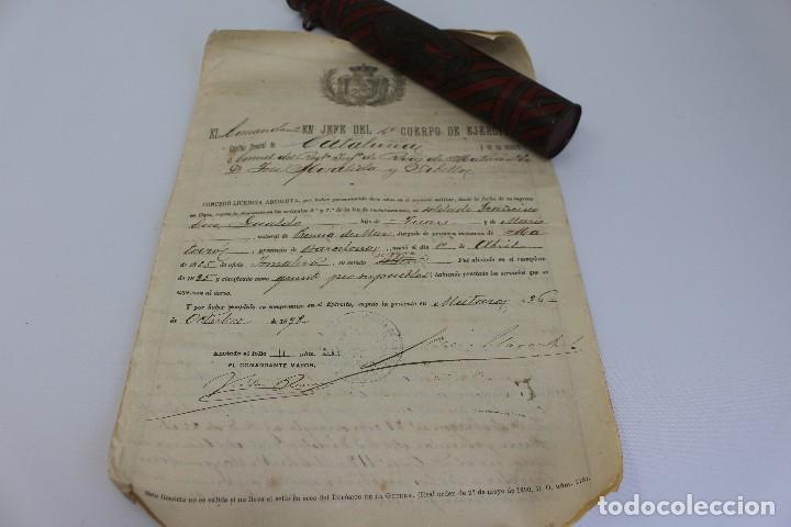 Documentos antiguos: BOTE ORIGINAL CON DOCUMENTO, DE LICENCIA ABSOLUTA FECHADO EN 1898. 23 cm bote - Foto 7 - 104792603