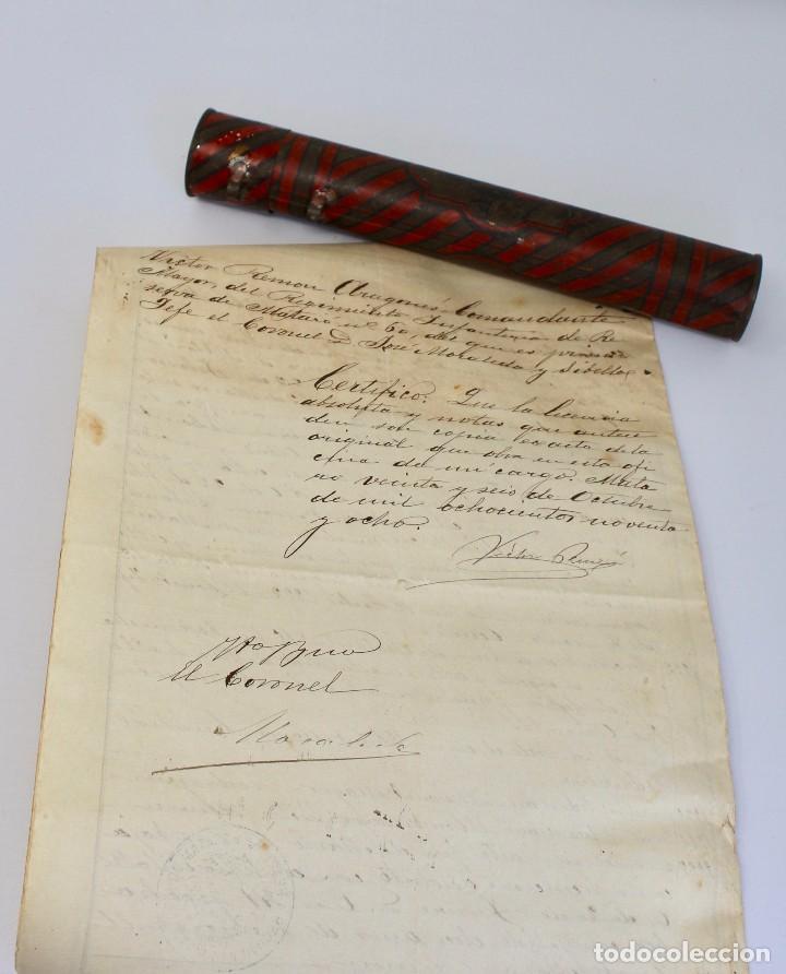 Documentos antiguos: BOTE ORIGINAL CON DOCUMENTO, DE LICENCIA ABSOLUTA FECHADO EN 1898. 23 cm bote - Foto 8 - 104792603