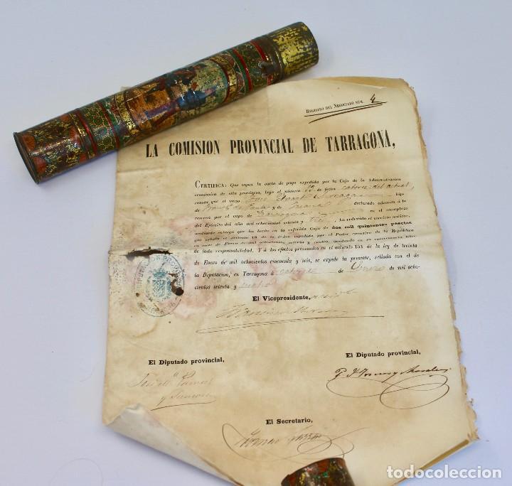 BOTE ORIGINAL CON DOCUMENTO, DE LICENCIA ABSOLUTA FECHADO EN 1874. 2,7 CM BOTE Y SELLO (Coleccionismo - Documentos - Otros documentos)