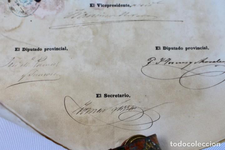 Documentos antiguos: BOTE ORIGINAL CON DOCUMENTO, DE LICENCIA ABSOLUTA FECHADO EN 1874. 2,7 cm bote Y SELLO - Foto 4 - 104793843