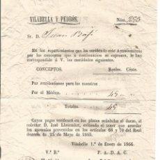 Documentos antiguos: VILABELLA 1866 DOCUMENTO PAGO PLAZOS 45 REALES AYUNTAMIENTO AL MEDICO VILABELLA Y PEDROS TARRAGONA. Lote 105012711