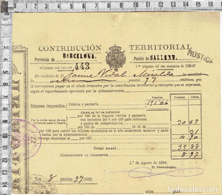 RECIBO CONTRIBUCION TERRITORIAL PROVINCIA DE BARCELONA-PUEBLO DE SALLENT1896/97. (Coleccionismo - Documentos - Otros documentos)