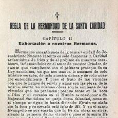Documentos antiguos: REGLA DE LA HERMANDAD DE LA SANTA CARIDAD, CAPÍTULO II . Lote 105169955