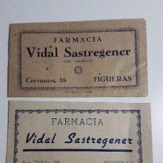Documentos antiguos: LOTE SOBRES FARMACIA VIDAL SASTREGENER - FIGUERES. Lote 105252623