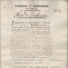 Documentos antiguos: NUMULITE A3038 OBRAS DE FORTIFICACIÓN GERONA 1837 SANTO DOMINGO CONVENT SANT DOMÈNEC GIRONA. Lote 105259335