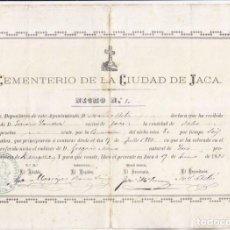 Documentos antiguos: RENOVACIÓN NICHO EN EL CEMENTERIO DE JACA. HUESCA. 1886.. Lote 105345875