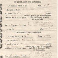 Documentos antiguos: CONTRIBUCION DE CONSUMOS 1ª Y 2º PLAZO DE 1874 A 1875 VALLS A 15 FEBRERO Y MARZO DE 1875. Lote 105436043
